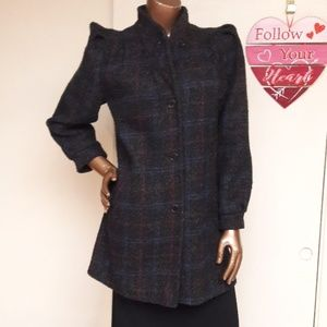 New York Girl Wool Blend Plaid Pea Coat